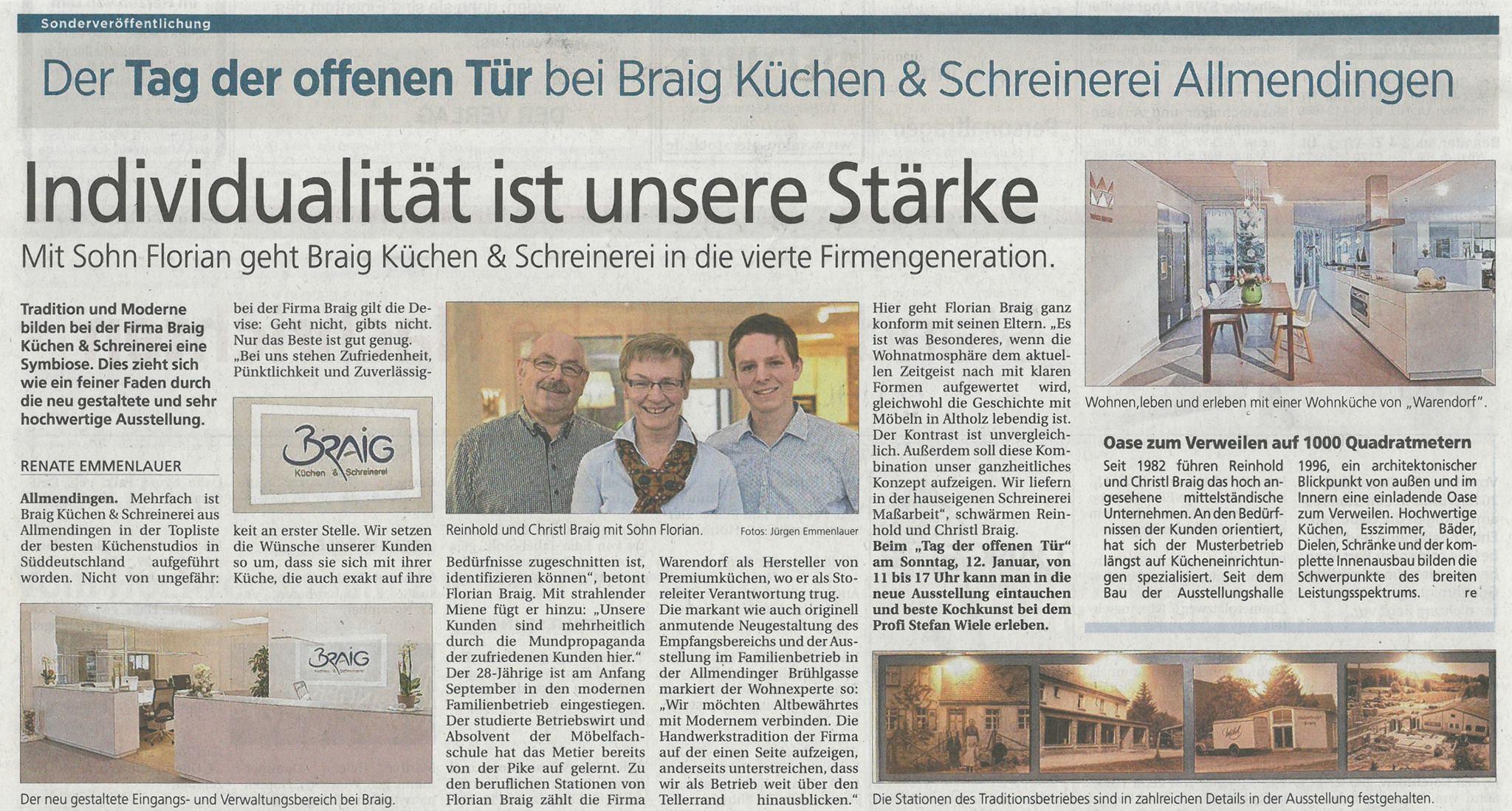 Zeitungsartikel zur Neueröffnung in der Südwest Presse vom 08.01.2014