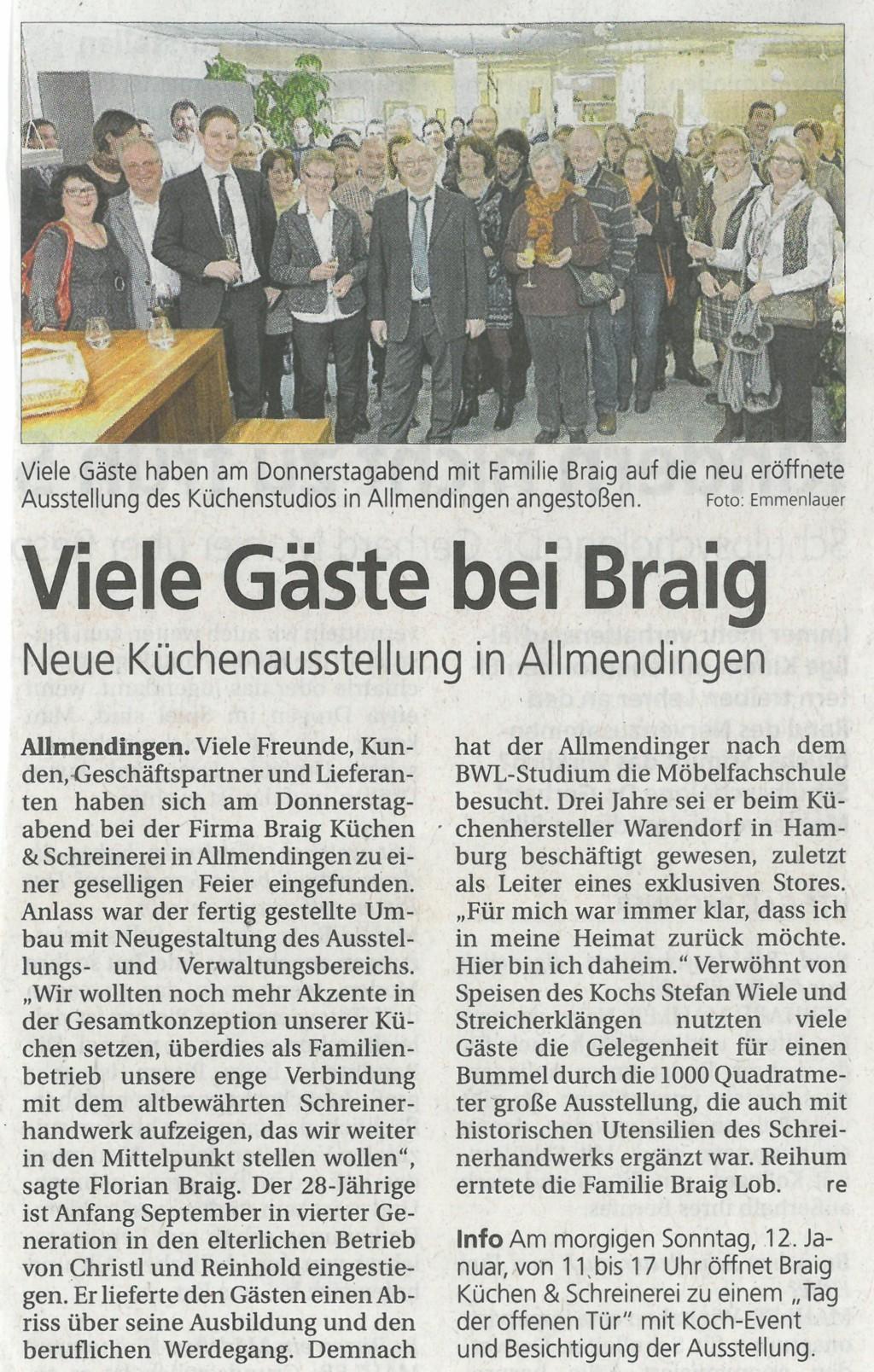 Zeitungsartikel zur Neueröffnung in der Südwest Presse vom 11.01.2014