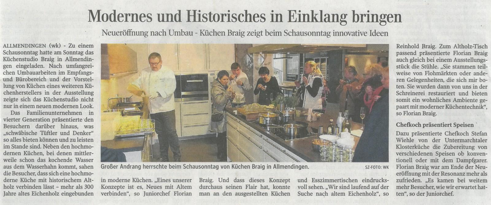 Zeitungsartikel zur Neueröffnung in der Schwäbischen Zeitung vom 13.01.2014
